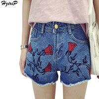 HziriP Fashion Hot Short Jeans Embroidery Floral Women Shorts Denim Worn Ribbons Pockets Blue Female High