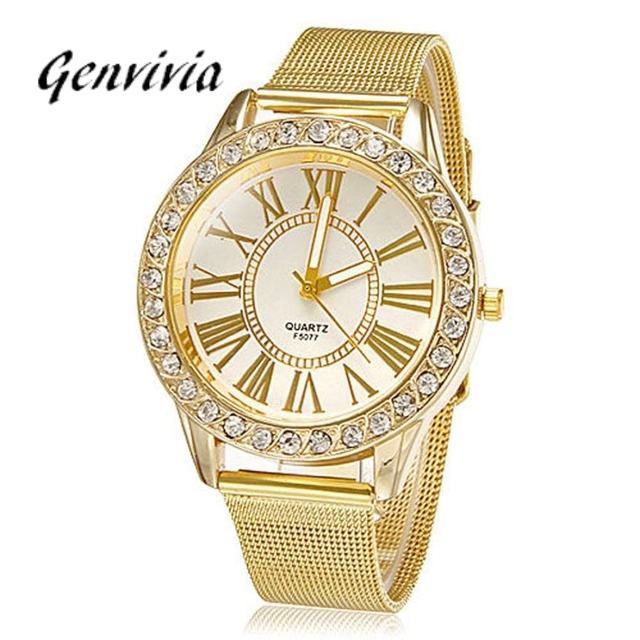 GENVIVIA Gold Men Watch Women Stainless Steel Band Watches 2019 Fashion Crystal