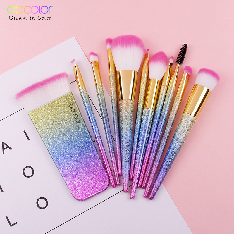 Docolor 11PCS Fantasy Makeup Brush Set Professional Make up Brushes Top Synthetic Hair Powder Contour Brush with Gift Package