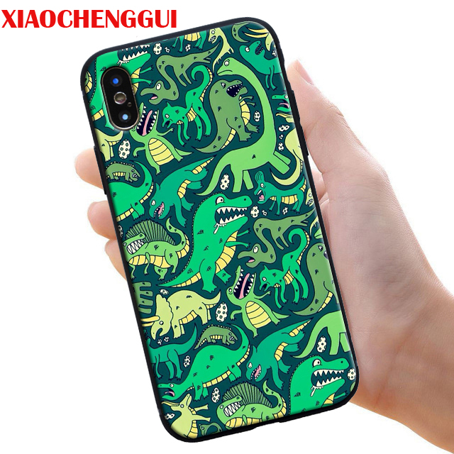 Cartoon Cute Dinosaur Painting Phone Case For iphone X XR