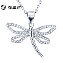 S925 Pure Silver Dragonfly Pendant fast selling through Amazon hot selling Necklace manufacturers direct selling focus on cross border fast selling oil paint snoopy digital printing 3d t shirt direct sale by foreign trade manufacturers
