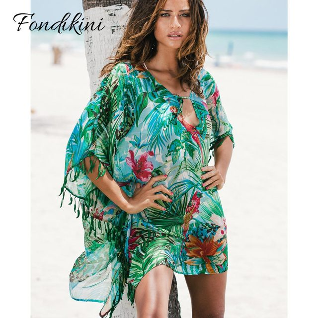 aeb31402eb2c5 Sexy 2019 Floral Print Swimsuit Women Cover-Ups Tassel Bathing Suit Swimwear  Female Summer Beach Wear Leaf Bikini Cover Up Dress