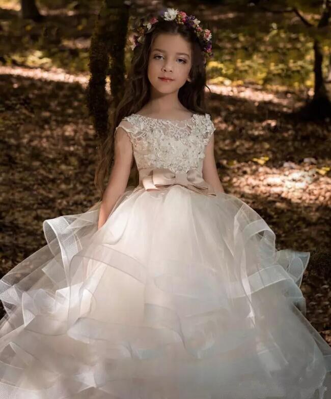 Perlé Fleur Enfants Dentelle Pic Filles Communion As Mariages Faite Petits Puffy Avec 2018 Robes Pour Bow Première Robe Same H05wxfq