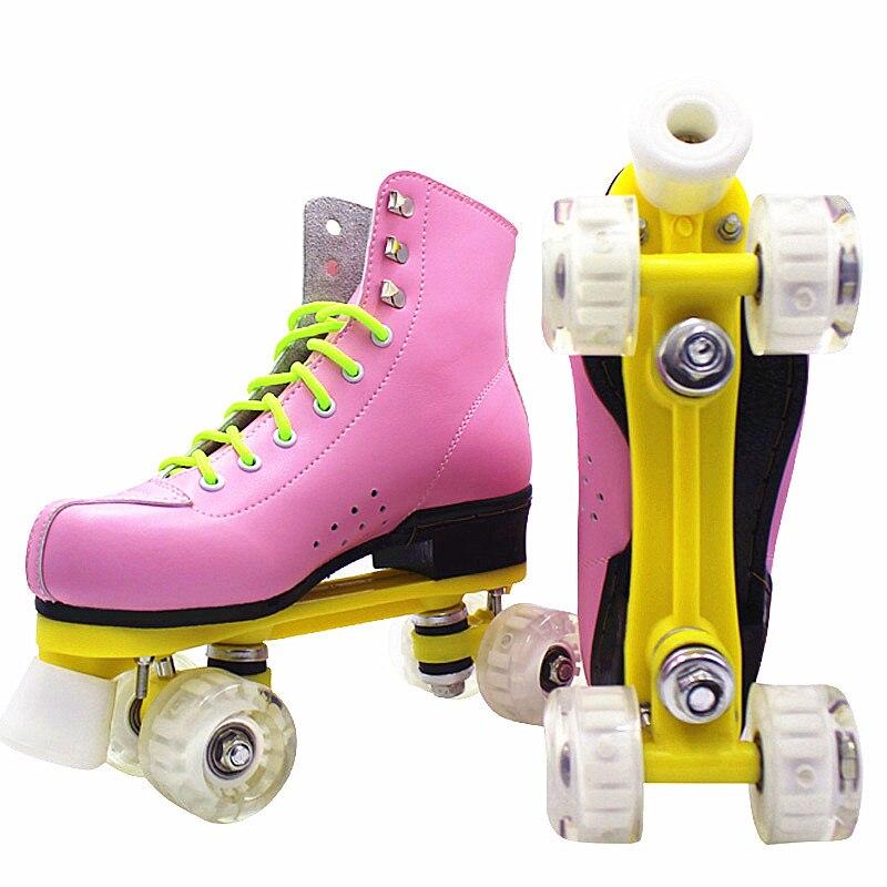 Patins à roulettes en cuir PU Double ligne Patines femmes modèles dame adulte rose avec course 4 roues en polyuréthane deux chaussures de patinage à roulettes
