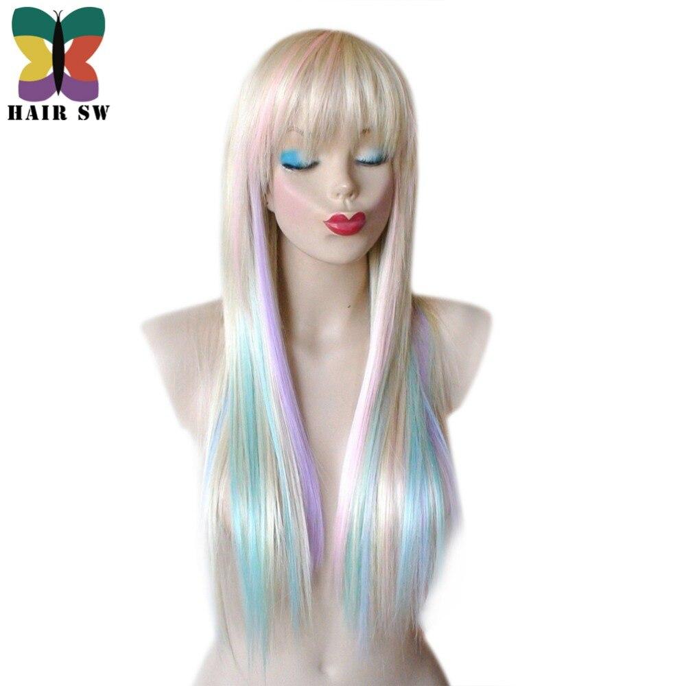 Волос SW длинные прямые Синтетические волосы сказочной принцессы парик красочные моменты ...