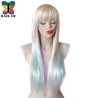 HAIR SW Long Straight Synthetic Hair Fairy Princess Wig Colorful Highlights Blonde Rainbow Wig Pastel Heat