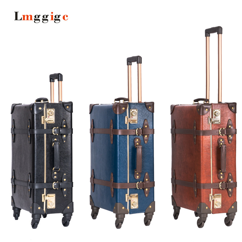 vintage wheels aliexpresscom buy genuine leather luggagehigh quality vintage