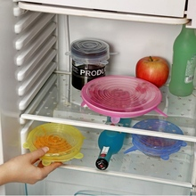 6Pcs/ Set Reusable Saran Wrap Universal Silicone Cover Vacuum Seal Suction Sealer Food Bowl Pot Stretch Kitchen accessories