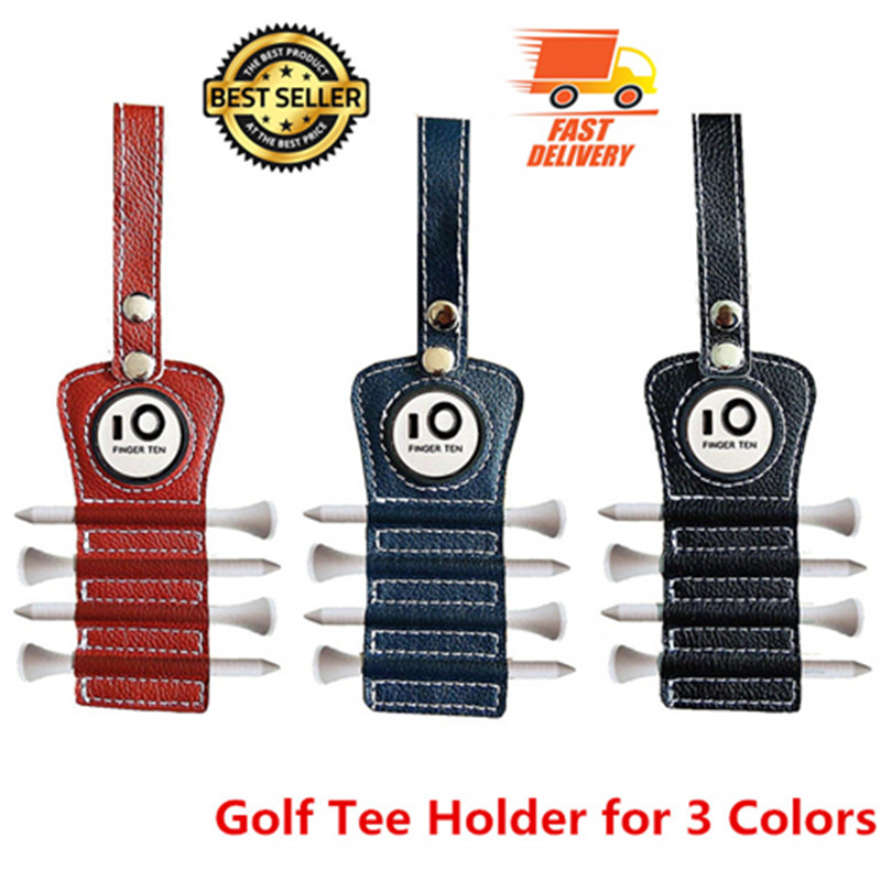 Golf Tee Holder Leather With 4 Pcs Wood Tee 1 Magnet Ball Marker Hook To Belt Bag Red Blue Black Color Training Tee Holder