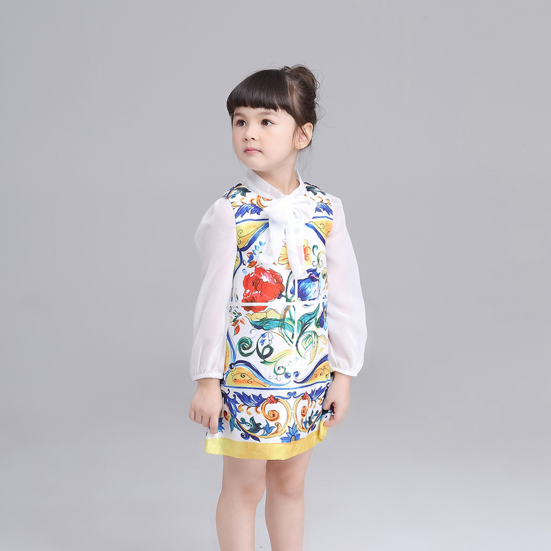 2016 new girls dress Girls Clothes Brand Girls Dress Princess Party Flowers painted high-grade sundress