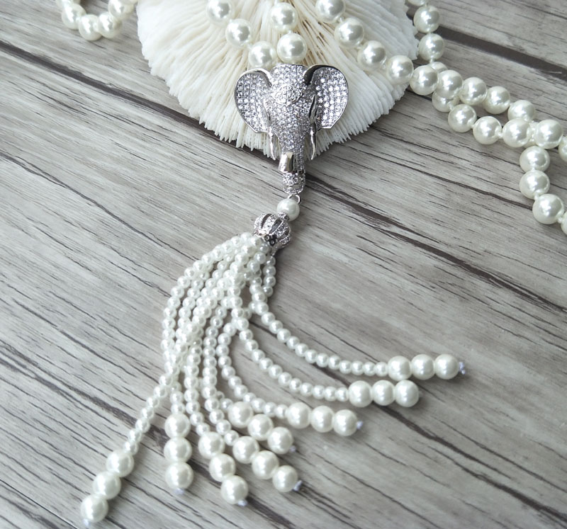 Image 4 - Elephant head charm Pendant CZ zircon crystal Micro pave  Connector,Natural Shell Pearl Beads Chain tassels Women Necklace  NK220women necklacechain tasselmicro pave