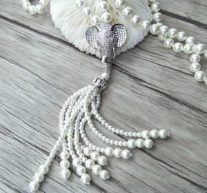 Image 4 - Elephant head charm Pendant CZ zircon crystal Micro pave Connector,Natural Shell Pearl Beads Chain tassels Women Necklace NK220