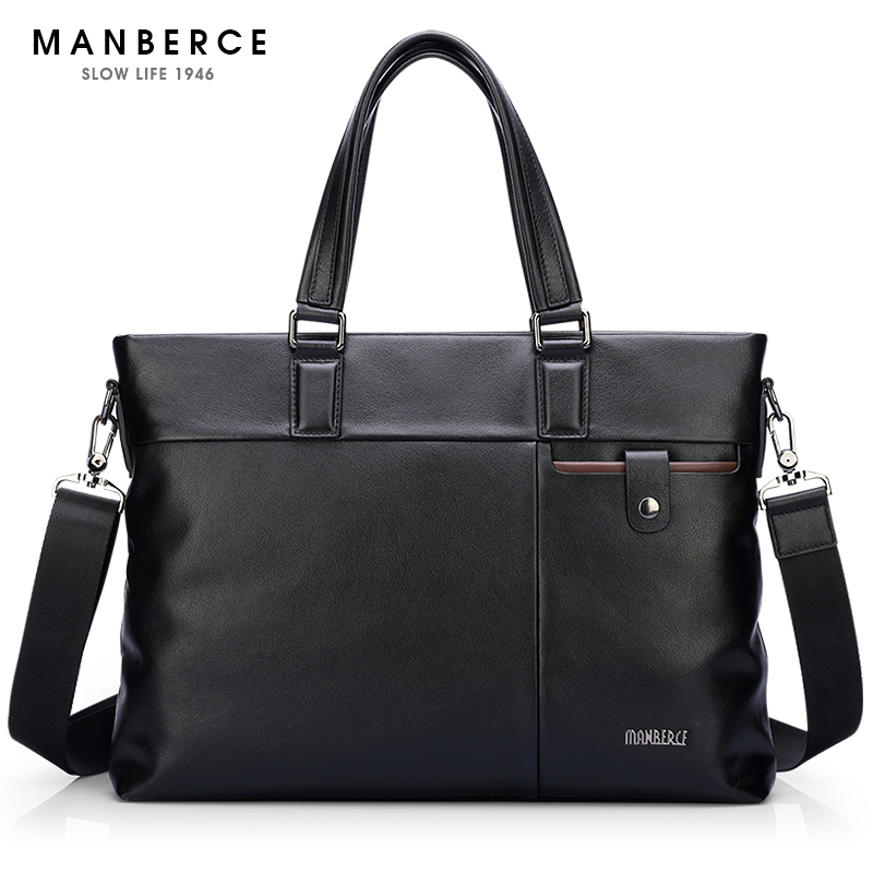 Brand Handbag Men Shoulder Bags MANBERCE Business Tote Laptop Bag Genuine Leather Briefcase Men's Messenger Bag Free Shipping bvp free shipping new men genuine leather men bag briefcase handbag men shoulder bag 14 laptop messenger bag j5