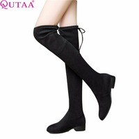 QUTAA 2017 Ladies Shoes Square Low Heel Women Over The Knee Boots Scrub Black Pointed Toe