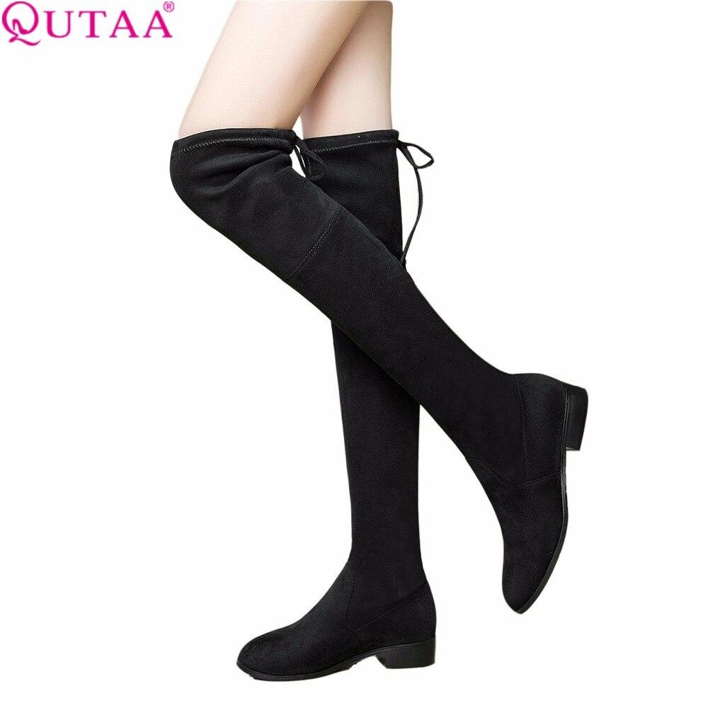 Qutaa/2018 г. Дамская обувь квадратный на низком каблуке женские ботфорты выше колена скраб черный острый носок женские мотоботы Размеры 34–43