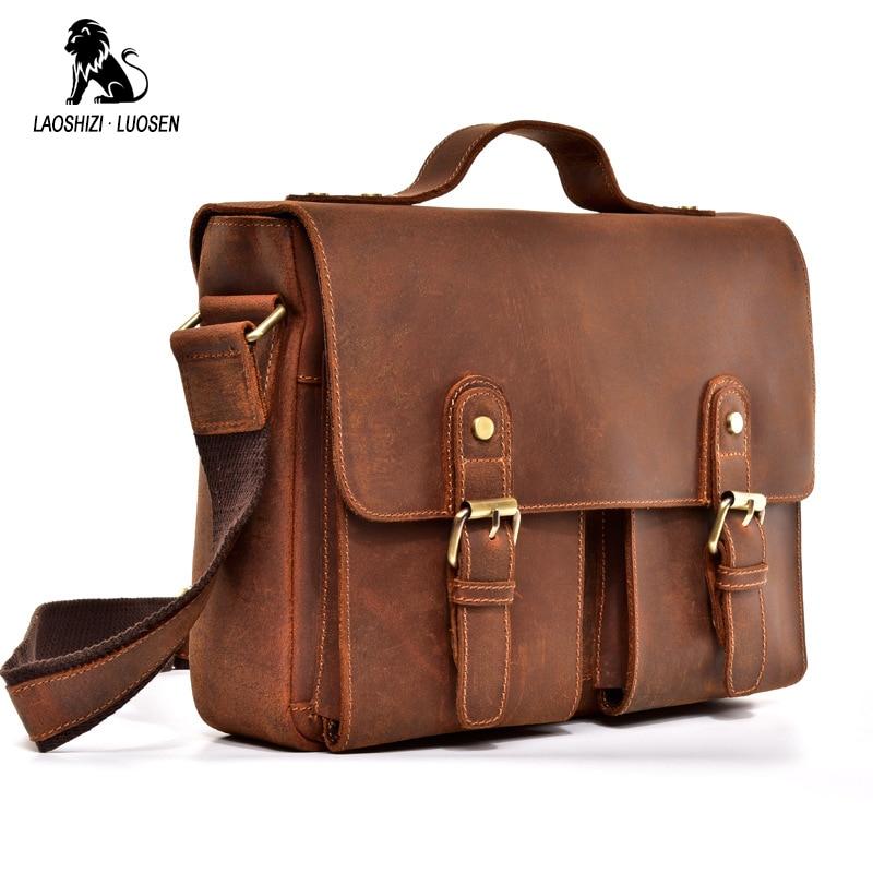 Top Grade Male Briefcase Men's Vintage Real Crazy Horse Leather Messenger Shoulder Portfolio Laptop Bag Case Office Handbag