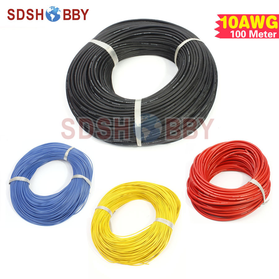 100 Meter 10AWG Silicone Wire/ Silica Gel Wire/ Silicone Cable (1050/0.08, OD: 5.5) 1meter red black blue12 10 12awg 10awg heatproof soft silicone silica gel wire connect cable for rc model battery part
