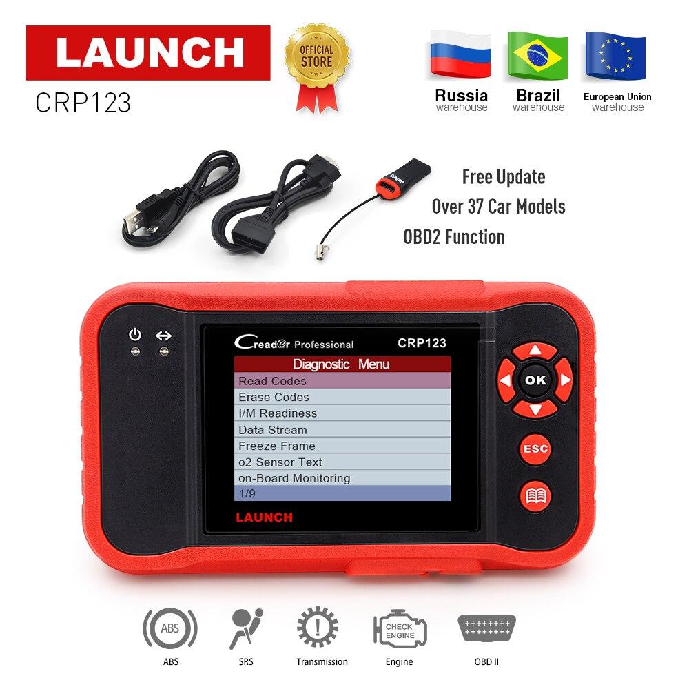 Lancio X431 CRP123 obd2 lettore di codice Scanner Motore di prova/ABS/SRS/A X-431 CRP 123 Auto Diagnostica strumento gratuito di aggiornamento creader vii +