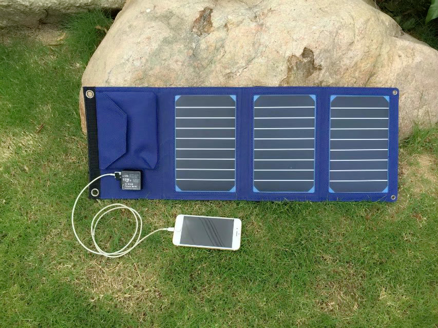 15W Foldable Solar Cells Charger Backpack Solar Panel Charger with Dual USB for Mobile Phone Solar Battery