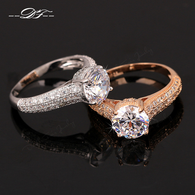 Cubic Zirconia Micro Pave Wedding Rings Rose Gold/Silver Color Engagement Jewelr