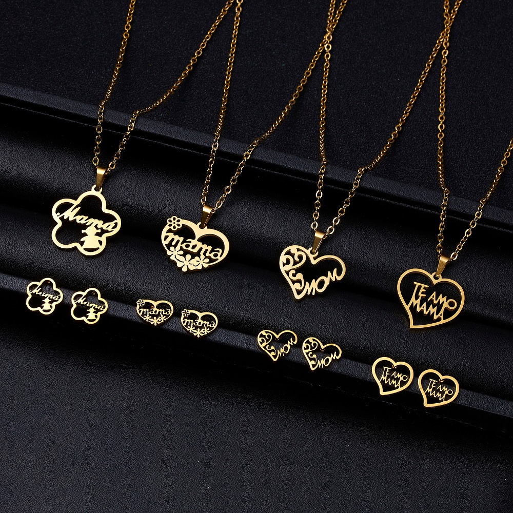 Collier Femme Stainless Steel Jewelry Set Gold Chain Love Heart Mama Mom Pendant Necklaces Earing Set Jewelry Mother's Day Gift