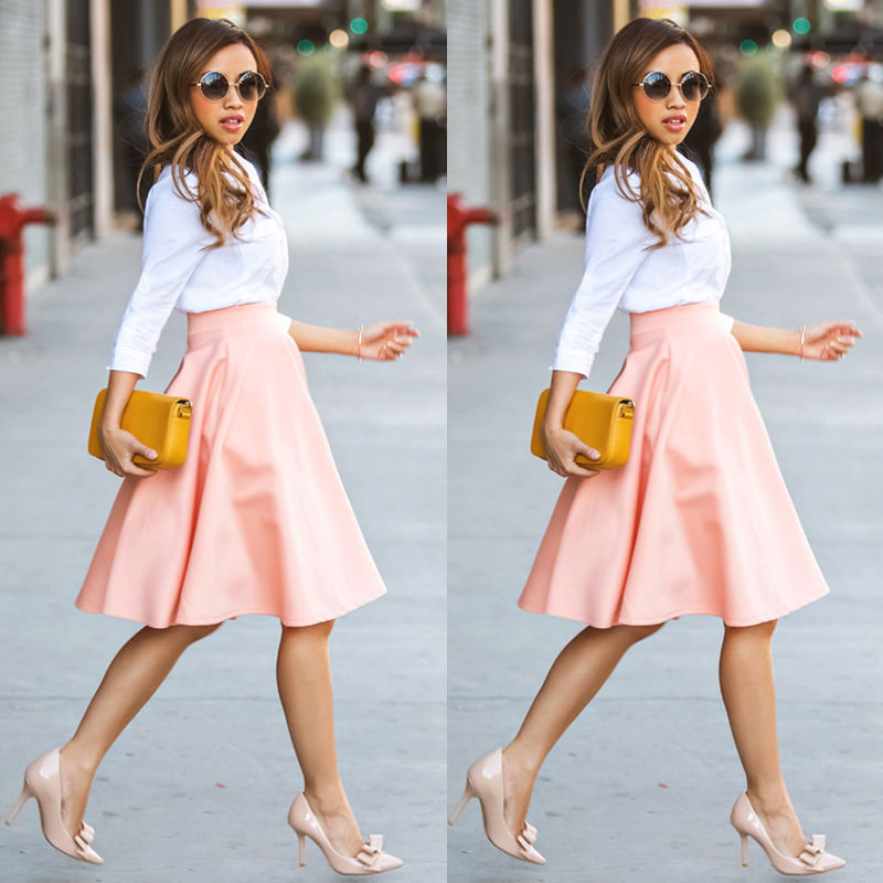 2018 HOT Womens Summer High Waisted Skater Full Circle Pleated A-Line Ladies Midi Pink Color Skirt Women Clothing