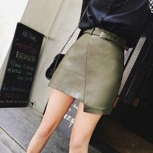 Image 4 - 2019 New Leather Sheepskin Skirt High Waist Skirt J14