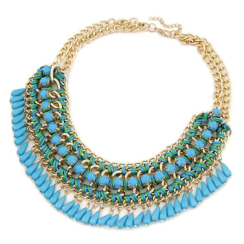 Aliexpress.com Comprar Nueva, joyería moda collares para mujeres gota de  agua cadena de la cuerda azul marino, envío gratis de necklace jewelry  fiable