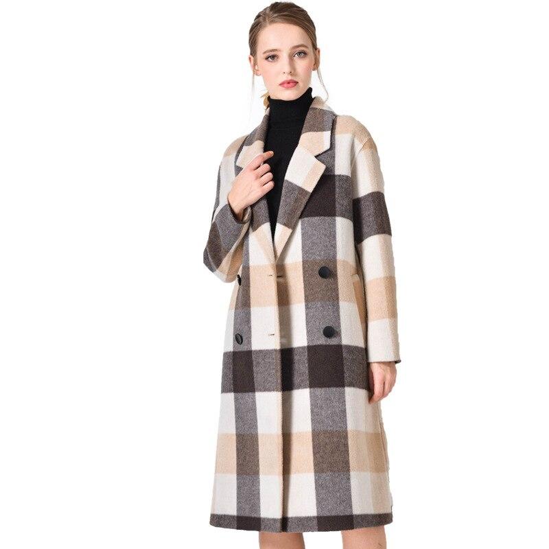 Beige Vestes Longues Laine Manteau Manches Femmes Longue Acrmrac Plaid Mince À Veste Manteaux D'hiver qPSwxvtf