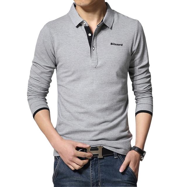hot sale fashion men Casual polo shirt  men's polos new arrival men letter print long-sleeve polo shirts man slim polos