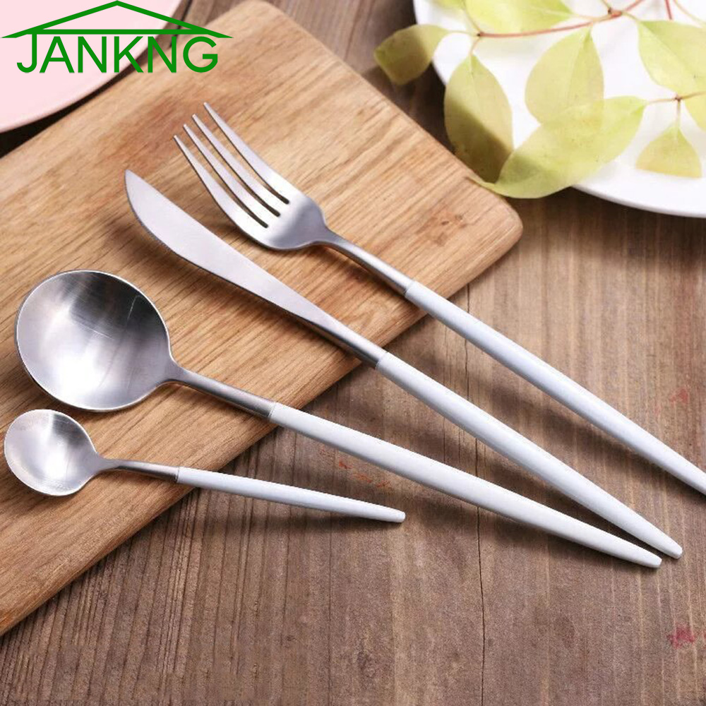 White Handle Flatware Set Atcsagacity Com