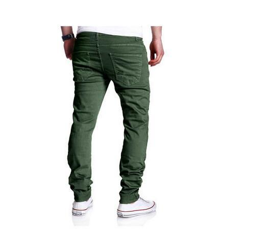 Spring and summer new men's personality hole washed Ouyang tide casual cargo pants