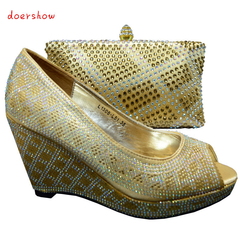 doershow shoes african women shoes and bag set with rhinestones italian shoes with matching bags high quality pumps shoes HYX1-9 2016 fashion women italian matching shoe and bags set with rhinestones high quality african wedding shoes and bag mvb1 19
