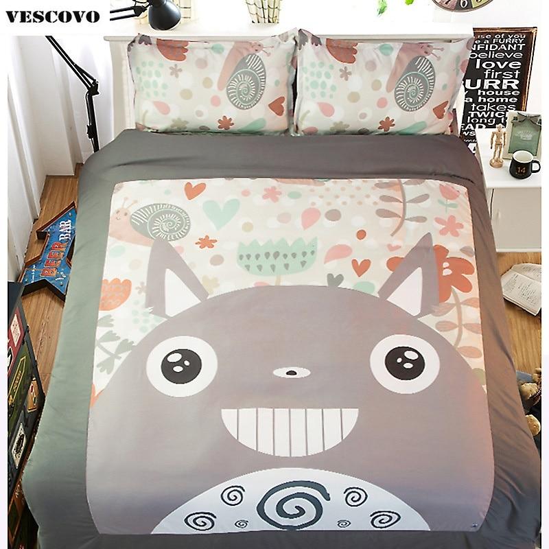 Cartoon totoro tröster setzt bettdecken decken bettlaken 100% Baumwolle Duve abdeckung set Bettwäsche-in Bettwäsche-Sets aus Heim und Garten bei  Gruppe 1