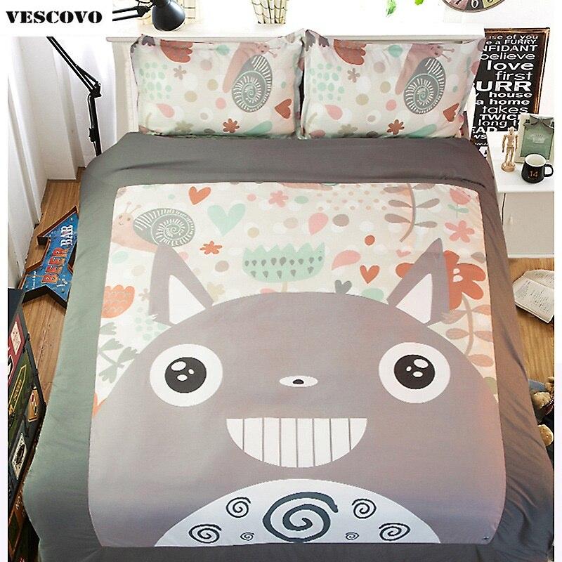 Ev ve Bahçe'ten Yatak Takımları'de Karikatür totoro yorgan setleri yorgan yatak çarşaf kılıfı % 100% Pamuk Duve yatak örtüsü seti Nevresim Takımı'da  Grup 1