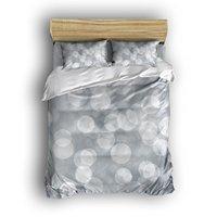 4 Stuk Lakens Set Abstract Bubble Crystal Cirkels op Grey achtergrond 1 Platte Vel 1 Dekbedovertrek en 2 Kussenslopen