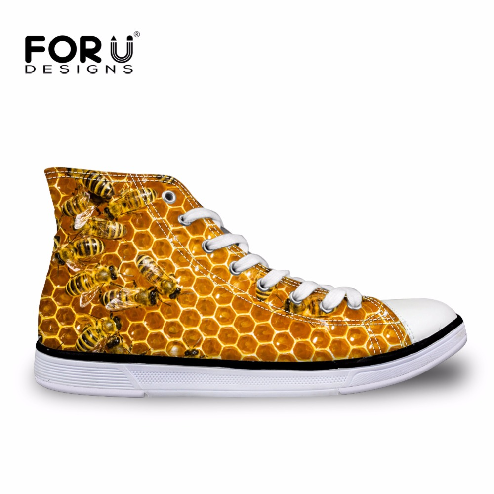 FORUDESIGNS Men High-top Canvas Shoes,Fashion Bee Print Lace-up Men's Casual Vulcanize Shoe,Top Quality Male Leisure Flat Shoes hot sale 2016 top quality brand shoes for men fashion casual shoes teenagers flat walking shoes high top canvas shoes zatapos