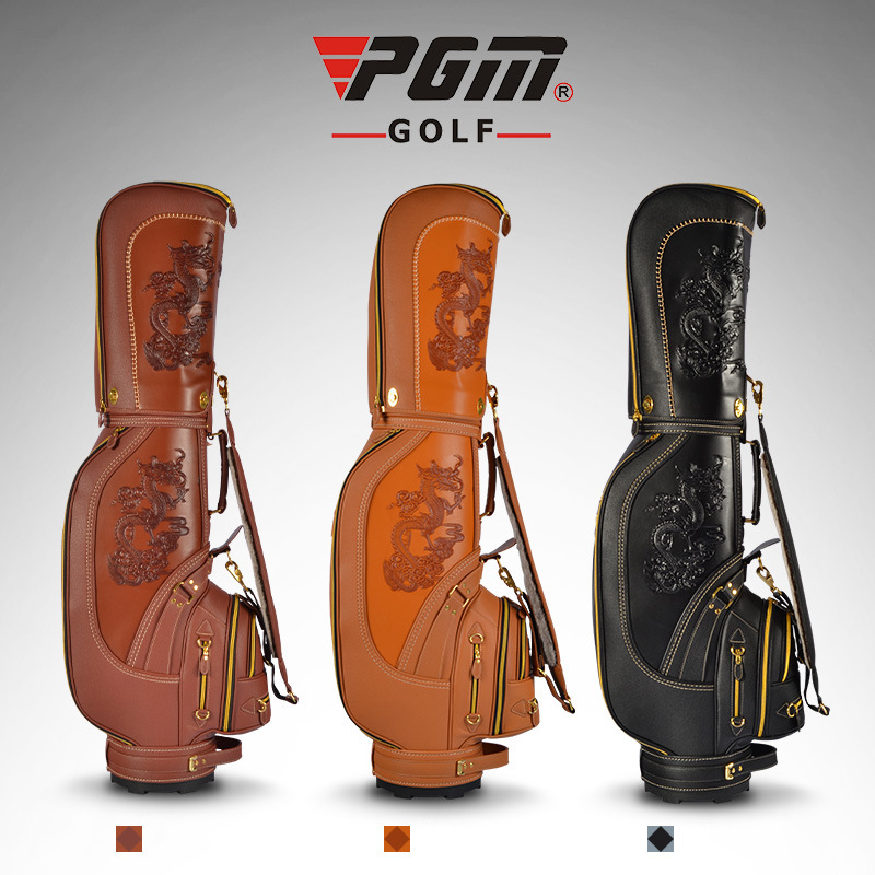 PGM Golf Standard Bag Clubs Package Plus Rex Rabbit Fur Caddy Bag Men Professional Leather Waterproof Golf Cart Bag Snake Lines polo authentic high quality golf gun bags pu waterproof laoke lun men travelling cover 8 9 clubs 123cm golf bolsa de sport bag