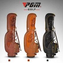 PGM Golf Standard Bag Clubs Package Plus Rex Rabbit Fur Caddy Bag Men Professional Leather Waterproof Golf Cart Bag Snake Lines
