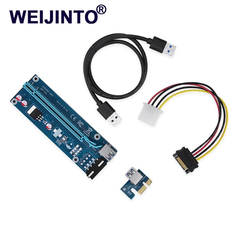 weijinto lowest price PCI Express Riser Card PCI-E 1x to 16x Extender USB 3.0 data Cable&SATA to 4Pin IDE Molex Power cable  006 100% original ni pci 6033e or pci 6031e data acquisition card daq card