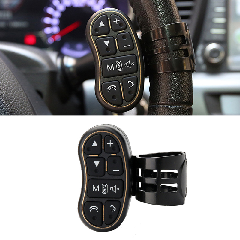 Free delivery Car shape universal steering wheel controller with audio volume Bluetooth control for DVD GPS unit radio car universal steering wheel portable button remote control car navigationdvd bluetooth controller audio volume bluetooth contr