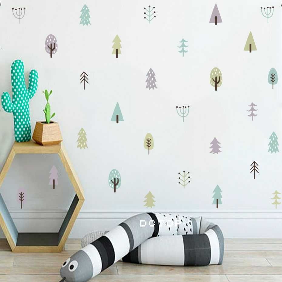 Woodland Trees Stickers On The Wall Cartoon Nordic Decals For Living Kids Room Waterproof Wallpaper Family Gift Creative Art