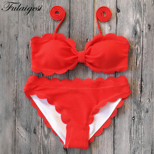 Fulaigesi Lace up pink Bikini set top sexy solid swimwear Women bandeau halter push up swimsuit 2019 new bathing suit swim beach lace up front sweetheart neck plaid bandeau top