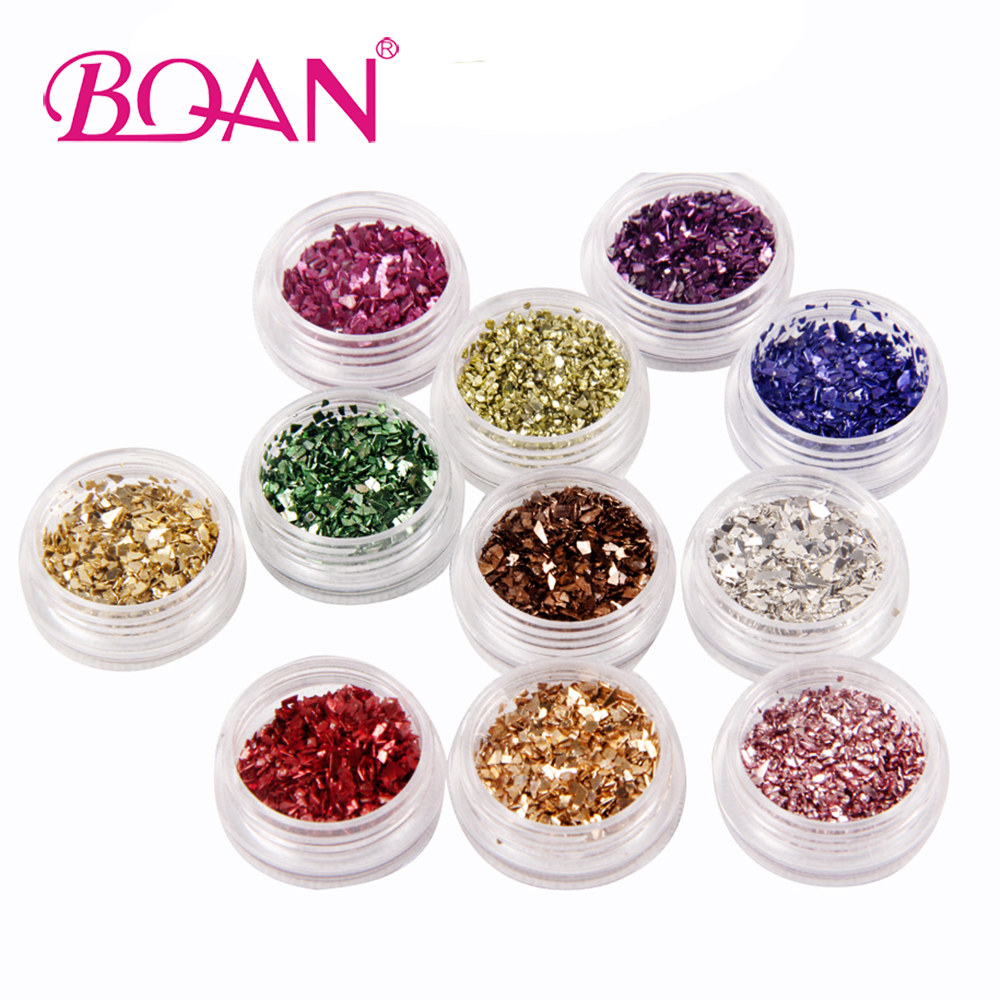 12Colors/Set 2017 New Nail Art Glitter Laser Crushed Shell Bits For DIY Nail Polish UV Acrylic 3D Nail Manicure Decorations gold and silver mixed styles acrylic 3d nail art decorations nail glitter rhinestone for uv gel nail polish