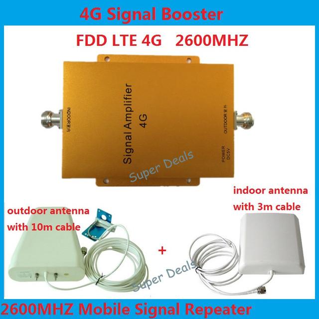 4G LTE FDD LTE repetidor de refuerzo repetidor 65db 4G señal booster 4G 2600 mhz amplificador de señal LTE 4G amplificador kit de antena