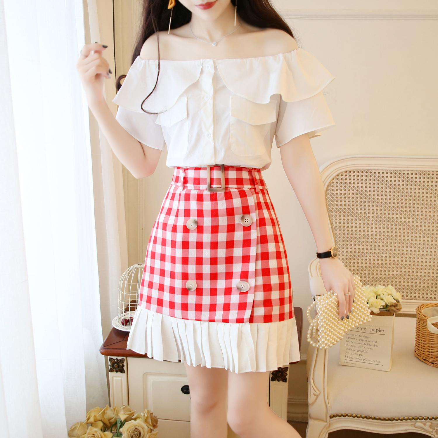 2019 summer butterfly sleeve off shoulder slash neck white shirt top+sexy red pleated plaid double breasted skirt suit set se403