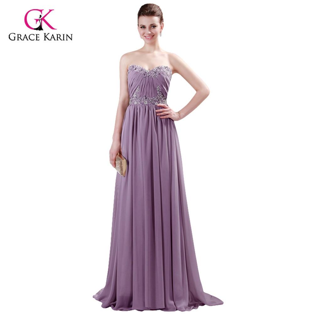 Grace karin elegante azul/púrpura/gris largo vestido de gasa ...