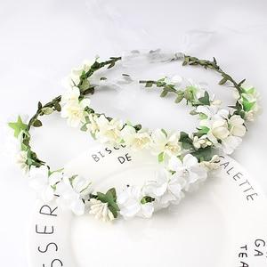 M MISM Girls Wedding Flower Crown Wreath Bohemian Vine Adjustable Yarn Garland Sweet Hair Bands Accessories For Bride Bridesmaid(China)