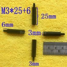 1Pcs M3*25+6 Black Nylon Standoff Spacer Standard M3 Male-Female 25mm Kit Repair Set High Quality