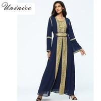 Müslüman Altın Trim Nakış Maxi Elbise Suit Şifon Abaya Hırka Islam Dua Giyim Uzun Robe Kimono Jubah Ramazan